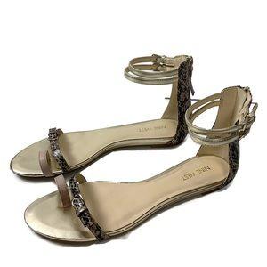 Nine West Gold Snake Print Ankle Strap Flat Sandal